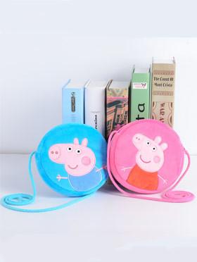 小猪佩奇卡通圆形零钱包 peppa pig佩佩猪乔治猪刺绣斜挎包